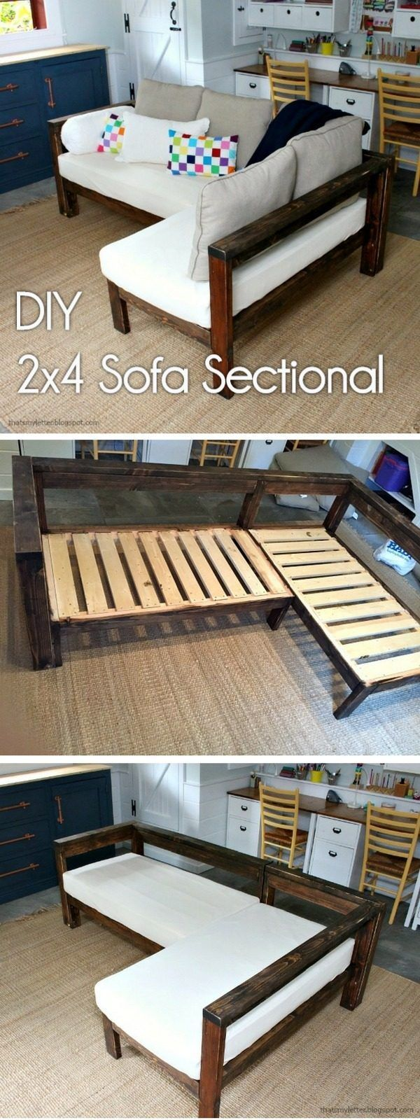 Check out how to make a #DIY #wooden small sectional from 2x4s #HomeDecorIdeas @istandarddesign