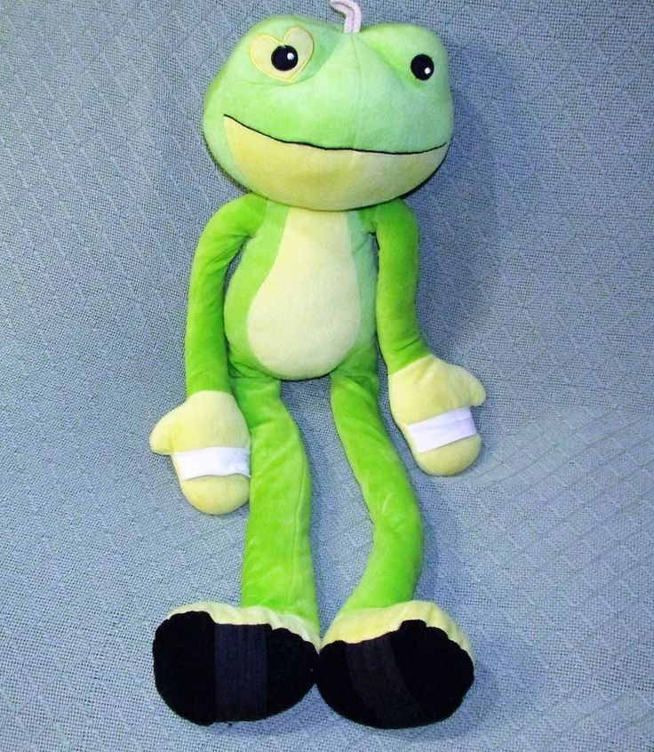 "Stretchkins GREEN FROG 30"" Plush Stuffed Childrens Exercise  Animal Toy Heart  #BlueBanana"
