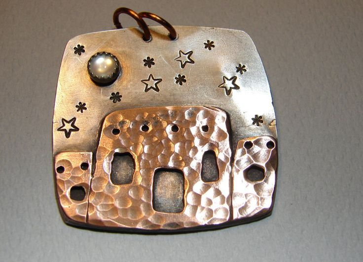 Southwestern Pendant Handmade from Sterling Silver and Copper with Moon Stone. $125.00, via Etsy.