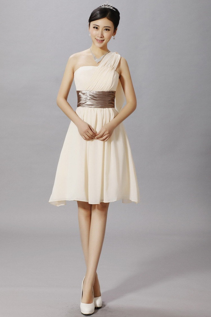 Ivory short bridesmaid dress beige a line princess straps for Short ivory wedding dress