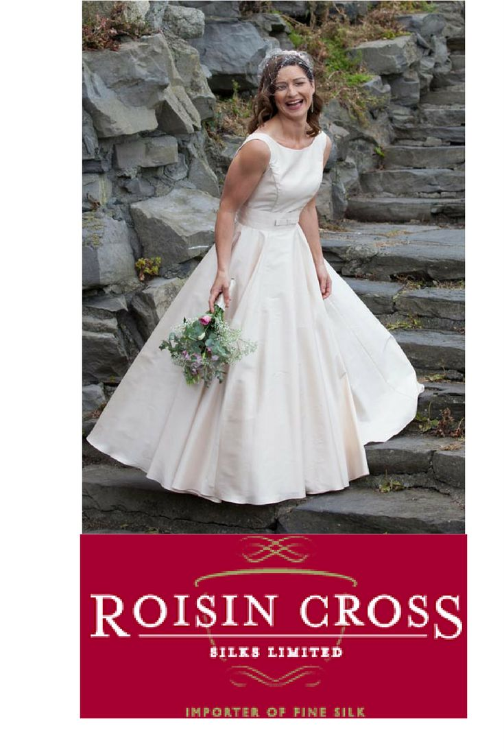 Oyster Thai silk bridal gown