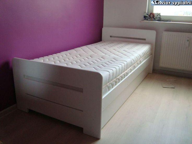 Łóżko drewniane Proste z pojemnikiem 90x200 białe