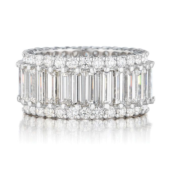 Brides.com: Get the Look: Kim Kardashian and Kris Humphries' Wedding Bands. Platinum eternity band with round and baguette diamonds, price upon request, Leo Ingwer