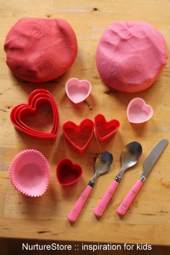 valentine play dough invitation to play