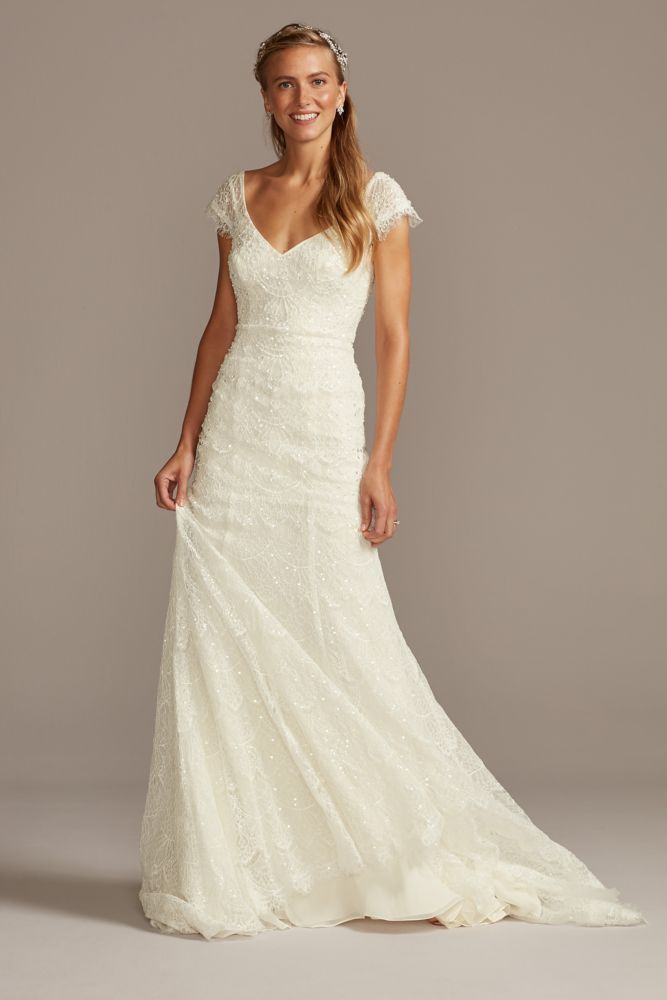Hand Beaded Lace Cap Sleeve Wedding Dress David S Bridal In 2020 Davids Bridal Wedding Dresses Wedding Dress Cap Sleeves Petite Wedding Dress