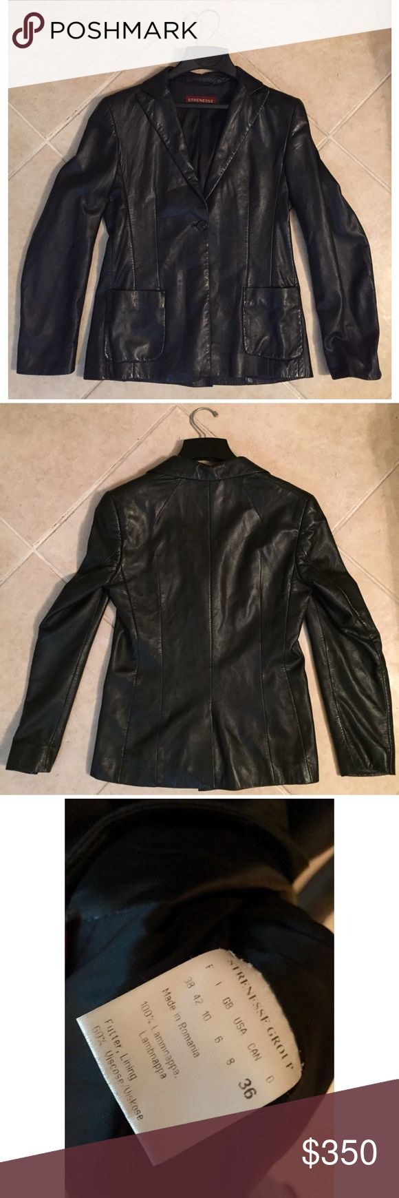 STRENESSE Black Lambnappa Leather Biker Jacket 100% Lambnappa Leather, Size US 6  Single button closure, 2 front pockets, and figure flattering stitching in front & back of jacket. Has only been worn a few times, some creasing in the leather overall but just needs a good visit to the leather specialist/cleaner to look as good as new!  German design aiming for the best possible quality and cut. The majority of production is based in Europe, with fabrics primarily manufactured in Italy…