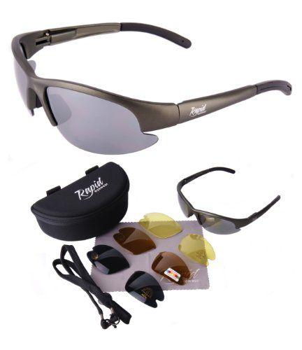 Nimbus POLARISIERTE SPORT SONNENBRILLE mit Wechselgläser (x4 - grau verspiegelt & braun + gelbe gläser). UV schutz 400. Polbrille Für Frauen, Männer und Jugendliche