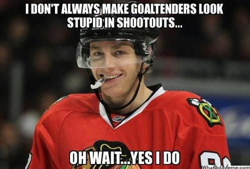 Not a huge fan of Patrick Kane but his shootout goals are pretty awesome.