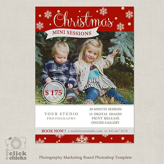 Christmas Mini Session Template Marketing Photography by ClickChicksDesigns, $8.00