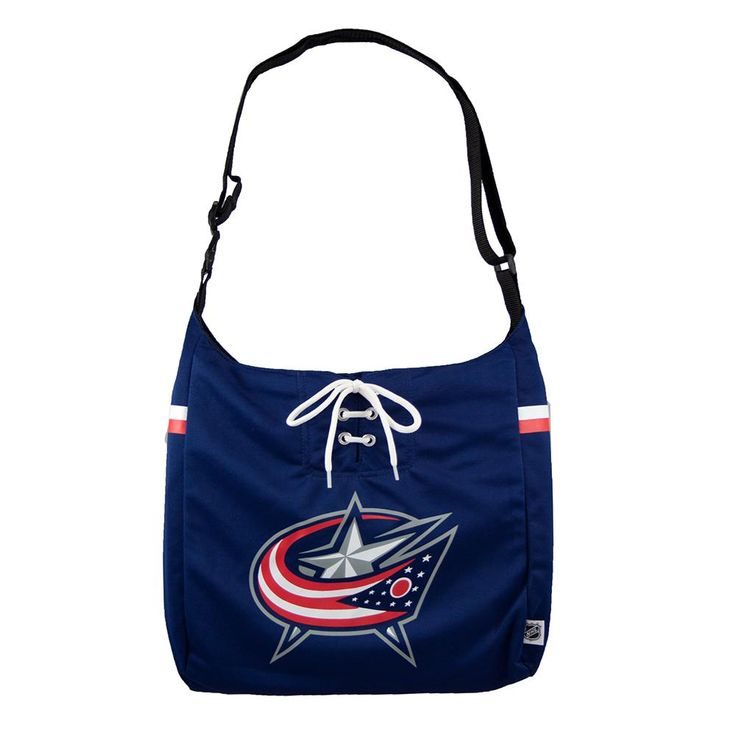 Columbus Blue Jackets NHL Team Jersey Tote  Jersey fabric and pro-styling will have you grabbing for this tote every time. Team colored tote with screen printed team logo. Measures 15 x 4 x 14 and features zipper closure and two slot inside pockets. Adjustable strap allows this purse to be worn at the shoulder or across the body.