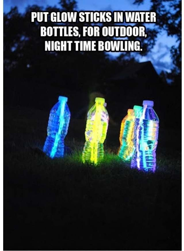 We did this last summer; we put glowsticks in water filled plastic bottles and created a bowling lane. Terrific fun! We did attract rather a lot of attention and let everhone who fancied having a go.