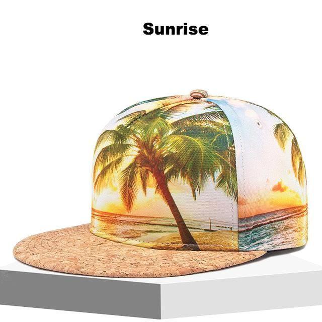 New Graphic Printed Tropical Palm Tree Beach Mens Flat Brim Snapback Baseball Cap Hat