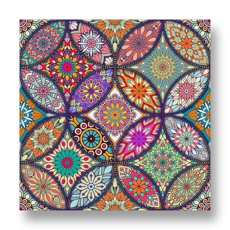 Circular Floral Pattern Canvas Print.  This canvas print has a circular motif with multiple floral patterns.  The floral patterns are varied with vivid and contrasting colours to create an interesting visual appearance.