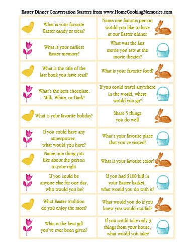 Free Printable: #Easter Dinner Conversation Starters