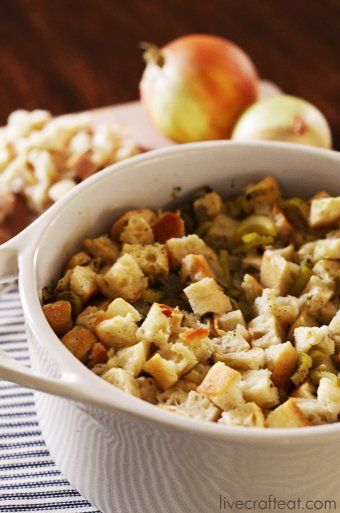 Homemade Turkey Stuffing PEGGY'S NOTE: Substitute turkey stock for chicken, and use more than the recipe calls for bc I like it moist. I also add some apples when I saute the onions and celery, but you could add pears or sausage...