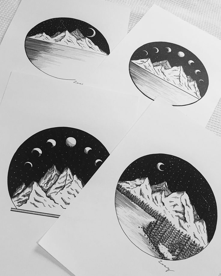 • Mountain scapes • Black ink • Drawing