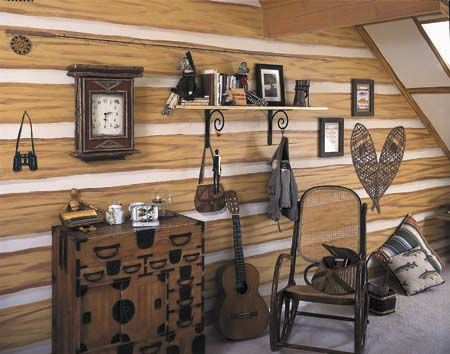 How To Paint Faux Log Walls.