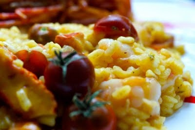 Lobster Mushroom Risotto with Prawns and Cherry Tomatoes