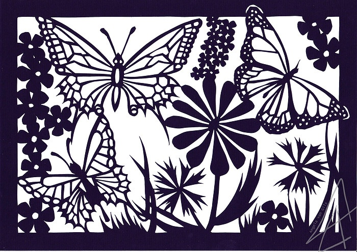Summer Butterfly's - paper cutting art (Made by Angela van Gils)
