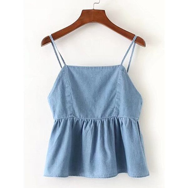 Knot Back Denim Cami Top (35 AUD) ❤ liked on Polyvore featuring tops, blue camisole, blue cami top, blue singlet, knotted tank top and blue tank