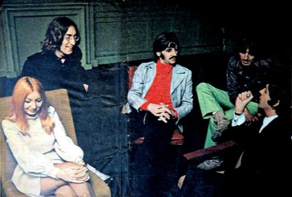 The Beatles and Mary Hopkins, 1968 (via Beatles Archive on Twitter)