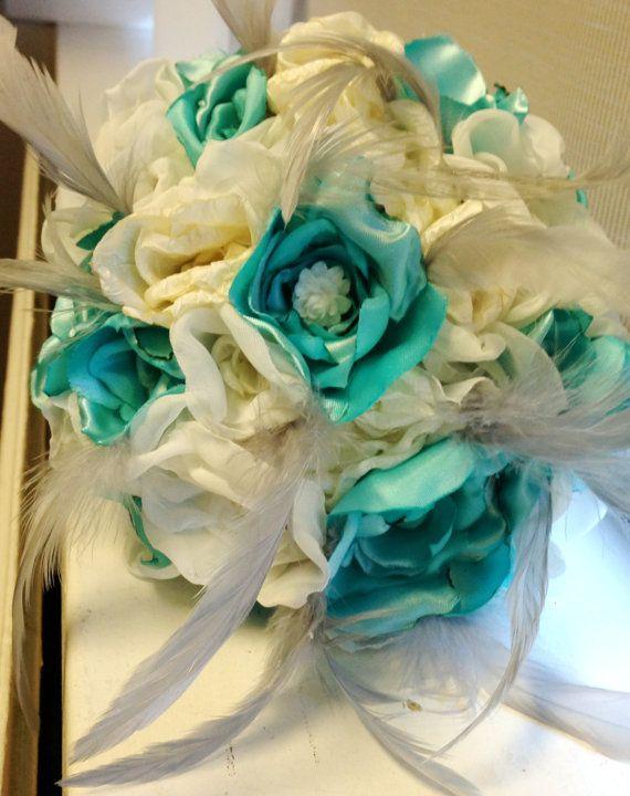 Custom designed bridal toss brooch bouquet
