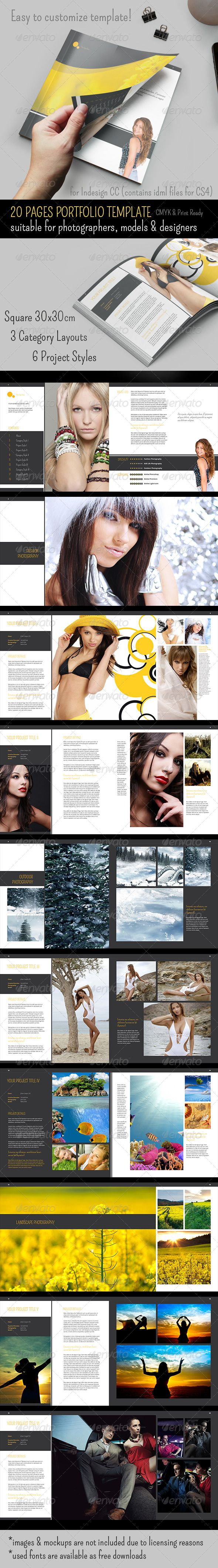 20 Pages Square Portfolio Book Template
