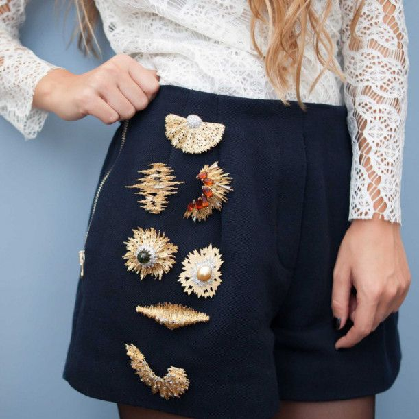 Brooches on shorts pant