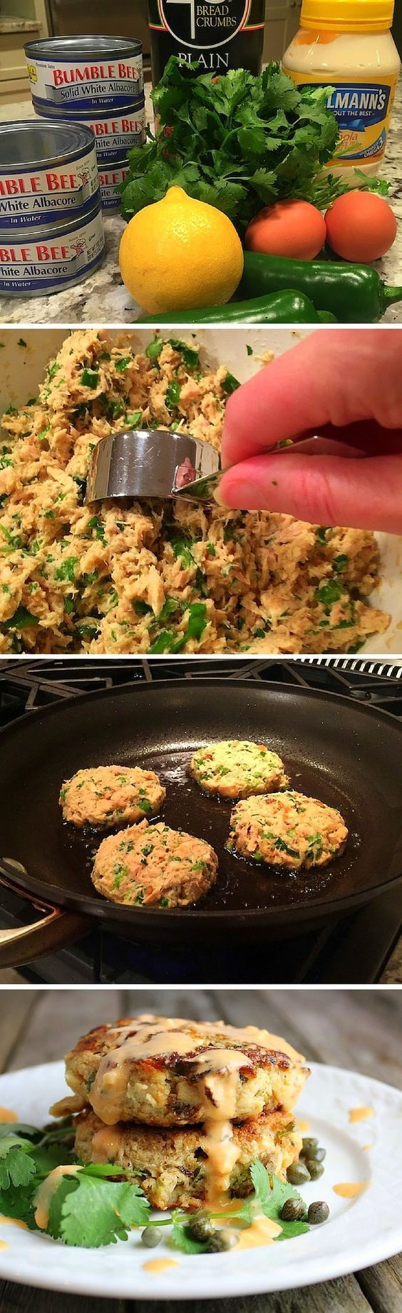 These simple healthy tuna cakes are delicious, budget friendly, and they feed an army! Low carb, low calorie, & clean eating. #cannedtuna http://tasteandsee.com