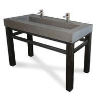 "Trueform 60"" Industrial Rectangle Concrete Vanity Bathroom Sink is a custom modern sink with contemporary features for the bathroom, kitchen, or powder room. Wharton, New Jersey. Vanity top integral sink with base. Color shown in Graphite : Base in Painted"