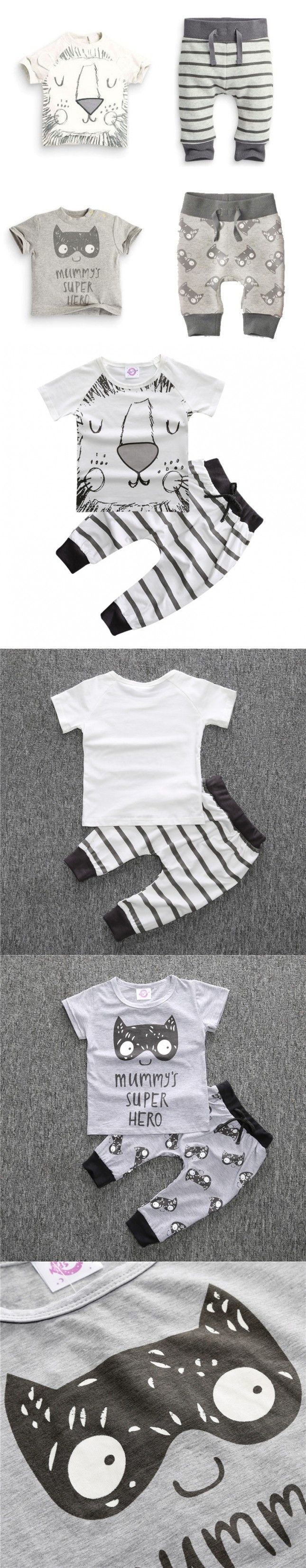 Retail 2PCS Summer baby boy clothes new born baby clothing set cotton short sleeved Cartoon Lion bat printing t-shirt + pants