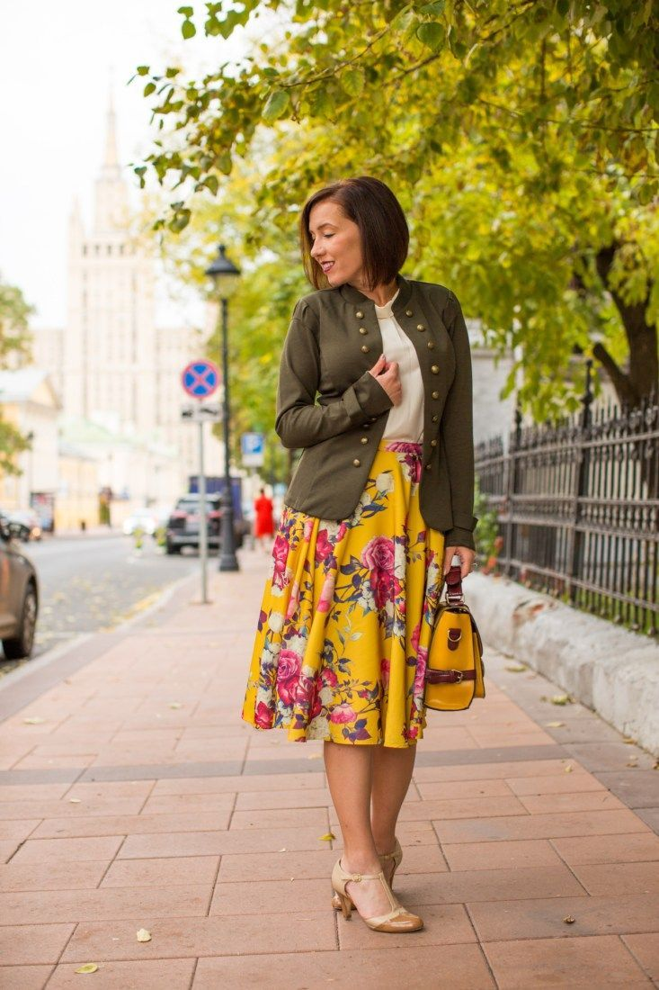 be01bca2a890 The perfect blazer for fall! + floral midi skirt + T-strap heels +