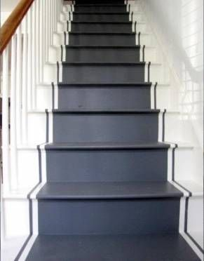 DIY with  paint: Painted stairs and runner