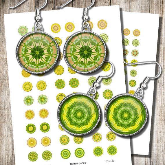 Printable Mandala Images Digital Collage Sheet 12 mm 15 mm