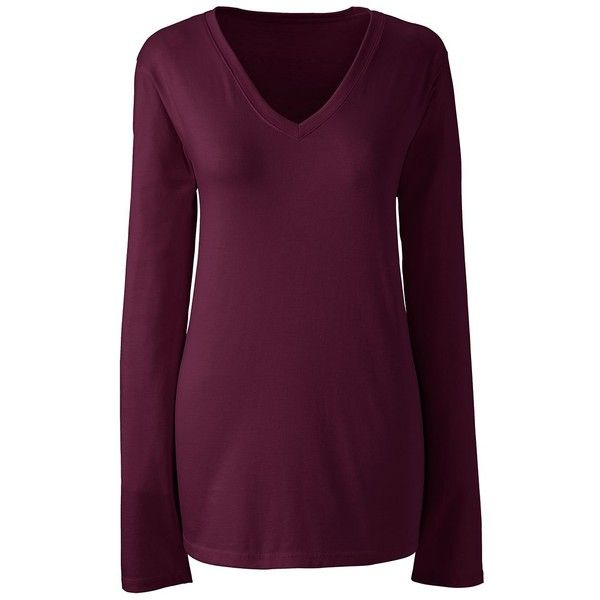 Lands' End Women's Petite Relaxed Supima V-neck T-shirt ($26) ❤ liked on Polyvore featuring tops, t-shirts, red, v neck tee, red v neck t shirt, v-neck tops, petite tee and petite tops