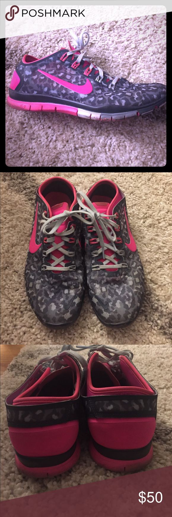 Nike Free TR Connect 2- Cheetah print!  RARE. These are in mint condition and were hardly worn! Hot pink with dark gray cheetah print! Be the stylish one at the gym  Brand: Nike Size: 9 Nike Shoes Sneakers