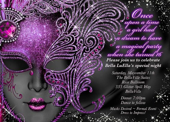 The 25 best Sweet 16 Masquerade ideas – Masquerade Party Invitation Ideas