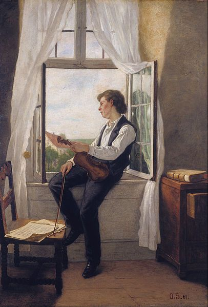 Otto Scholderer - The Violinist at the Window, 1861
