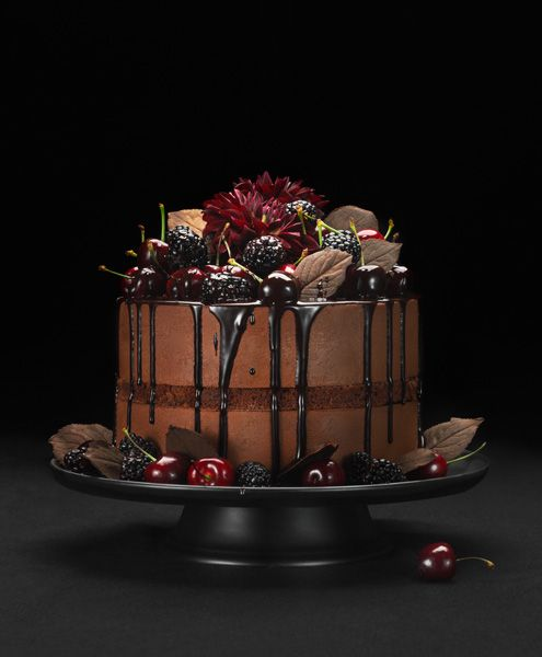Gorgeous chocolate fudge berry cake