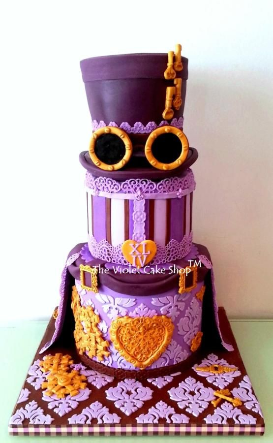 My STEAMPUNK XLIV Birthday Cake using Edible Lace from Ciccio Cakes