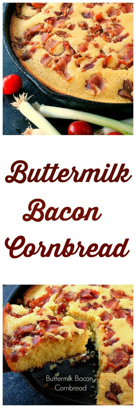 Buttermilk Bacon Cornbread... Moist delicious and topped with lots of Bacon