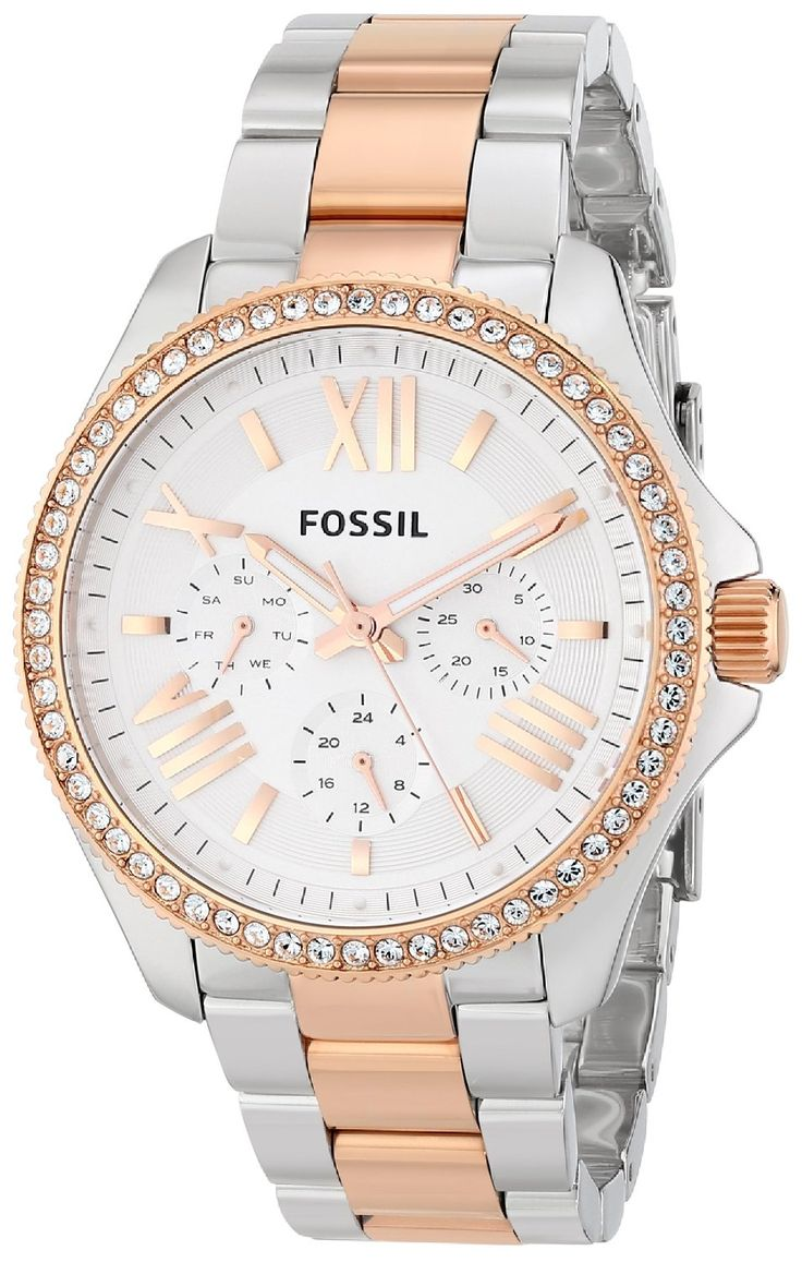 women's watches: women gold watches sale Fossil Women's AM4496 Cecile Analog Display Analog Quartz Gold Watch