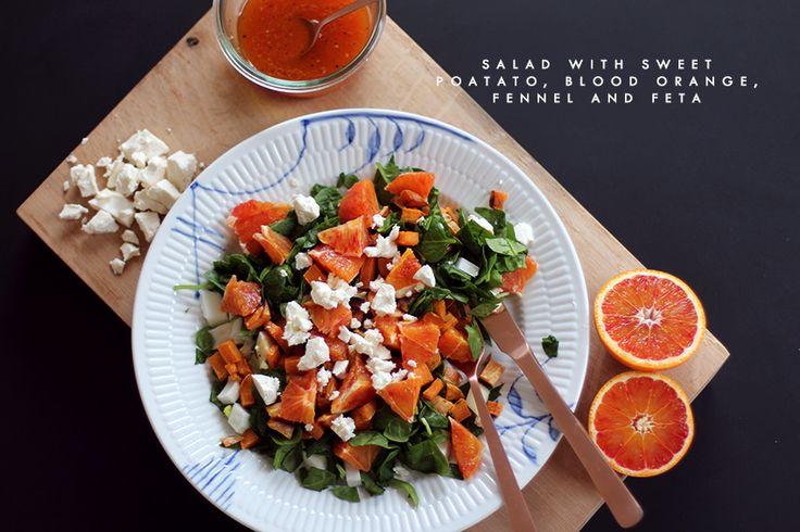 Salad with sweet potato, blood orange, fennel and feta via acie.dk
