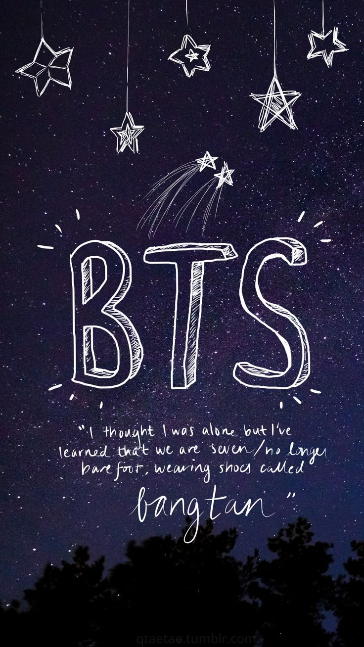 """I thought I was alone but I've learned that we are seven. No longer barefoot, wearing shoes called Bangtan."""