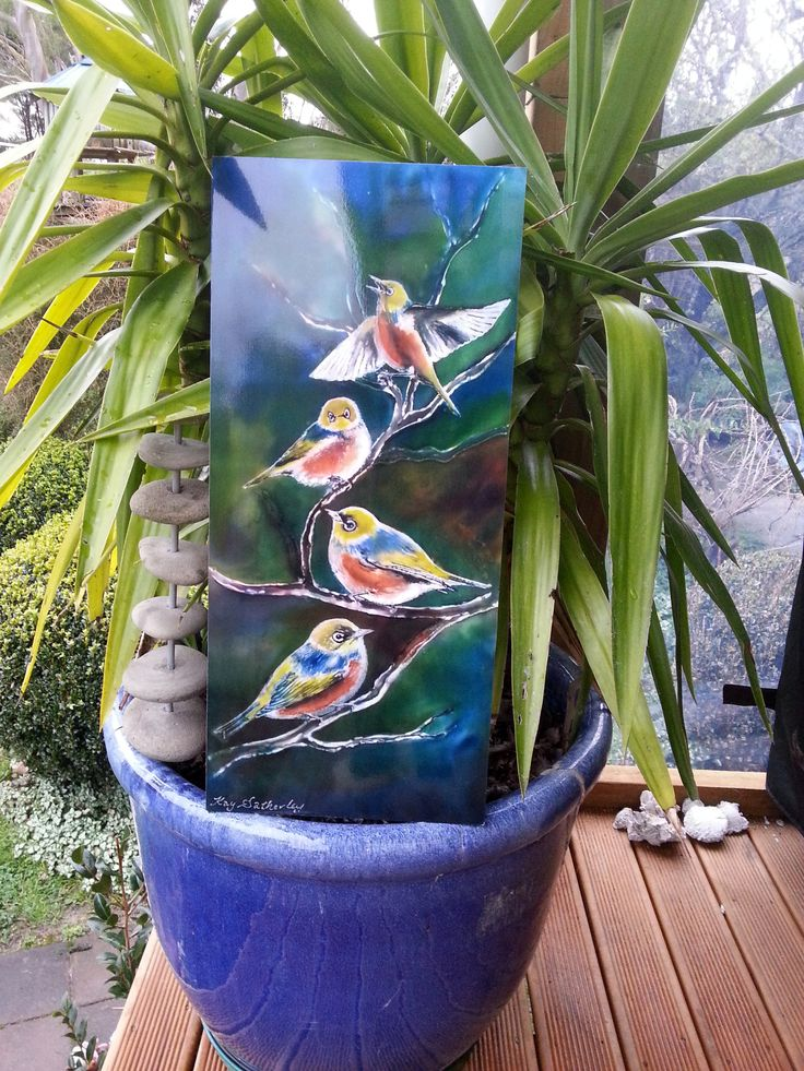 Outdoor Garden Art on aluminium, New Zealand SilverEye (Tauhou) Bird, by New Zealand artist Kay Satherley, OUTDOOR outside Wall ART Panel, by KaySatherleyArt on Etsy