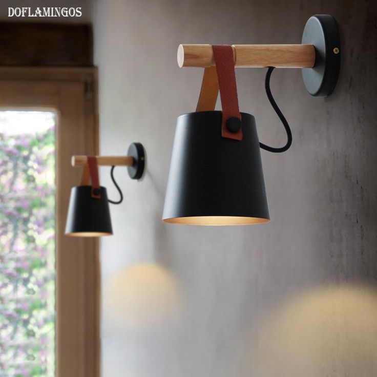 Applique murale LED en bois avec abat-jour suspendu