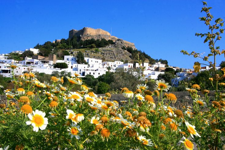 https://flic.kr/p/5cn3hx | Lindos in spring, Rhodes Island | View of promontory with fortress framed by spring flowers. Lindos. Rhodes Island, Dodecanese, Greece