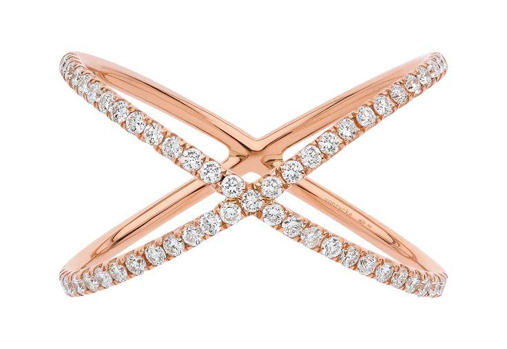 Vanrycke Crossed Rings in Rose Gold