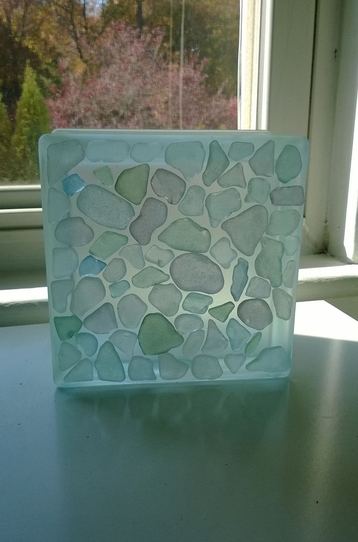 Decorative glass blocks crafts - Frosted Glass Block With Pastel Sea Glass