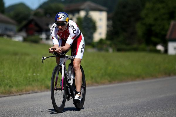 Switzerland's Daniela Ryf competes in the cycle leg of the race during Ironman 70.3 Rapperswil-Jona on June 11, 2017 in Rapperswil, Switzerland.